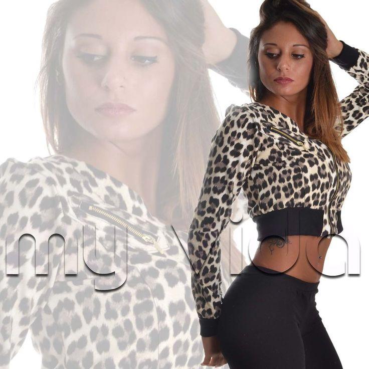 Felpa donna maglia corta zip fashion manica lunga sexy maculato leopardato M102