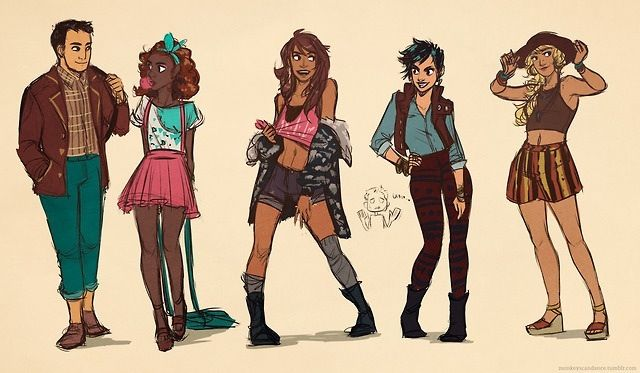 Frank Zhang, Hazel Levesque, Piper Mclean, Thalia Grace, and Annabeth Chase