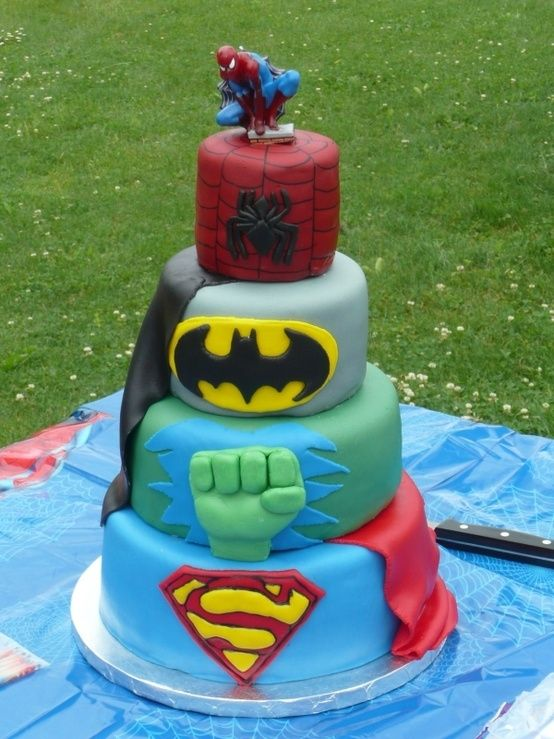 Super Hero Birthday Cake, maybe captain america or green lantern instead of the hulk