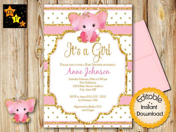75 best baby shower invitations images on pinterest baby shower pink and gold baby shower invitation girl elephant instant download editable in adobe reader diy printable 5x7 solutioingenieria Choice Image