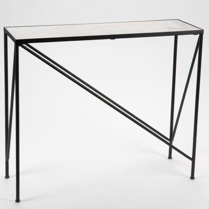 199 € Consola de hierro color negro con sobre de mármol color blanco una estructura moderna y sencilla pero muy elegante