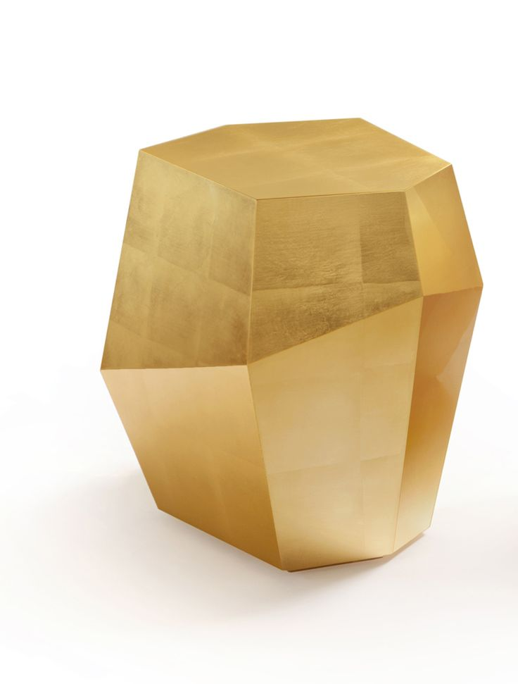 INSIDHERLAND 'Three Rocks' tables by Joana Santos Barbosa  in gold leaf. #detail #reflection #gold #gloss #geometry