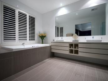 Modern bathroom design with corner bath using ceramic - Bathroom Photo 276981