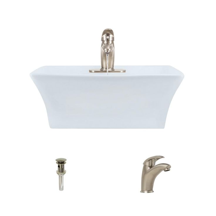 MR Direct Porcelain Vessel Sink in White with 722 Faucet and Pop-Up