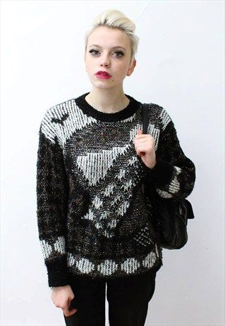 Vintage 80's black white monochrome jumper aztec // This is a unique vintage, hand picked item by Pretty Disturbia which is right on trend!  FABRIC -Acrylic/ cotton with mohair and metallic fibres.  .It really is stunning and unusual with knitted aztec design - it is perfect for Christmas!  DETAILS- It is high quality and unusual. It is classic  STYLING- This is perfect for a night out with heels and skinny jeans or in the day with boots and a denim jacket, it goes with any outfit.  SIZE…