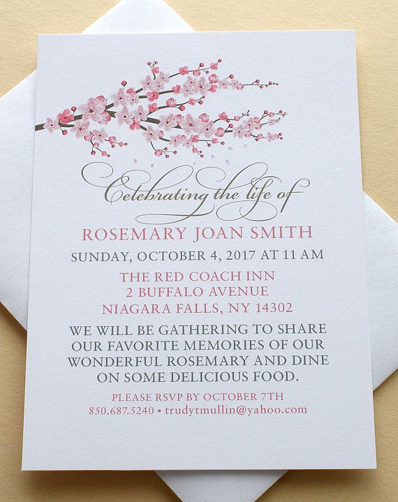 Celebration of Life Invitations with a Branch of Pink Blossoms - Personalized -  FLAT Cards