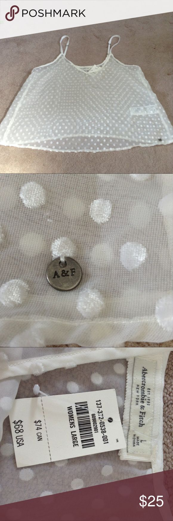 ABERCROMBIE AND FITCH sheer velvet polka dot tank I will be moving August 13th across the United States. I have gone through my closet and pulled out things I never wore and dont fit me, or are in very good condition. Please message me with any questions. Once August 13th arrives I will have to take my items to a goodwill. I appreciate your interest! Abercrombie & Fitch Tops Tank Tops