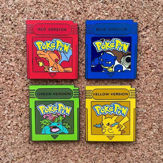 Pokemon Red Blue Yellow & Green Version Hat Pins by BaineVisuals