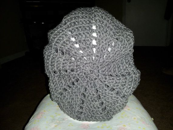 Heather Gray Slouch Beanie/Beret by MamaKatCrochet on Etsy, $10.00