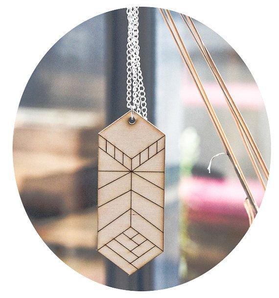 Wooden geometric Feather Necklace II - Gift wrapped via Etsy