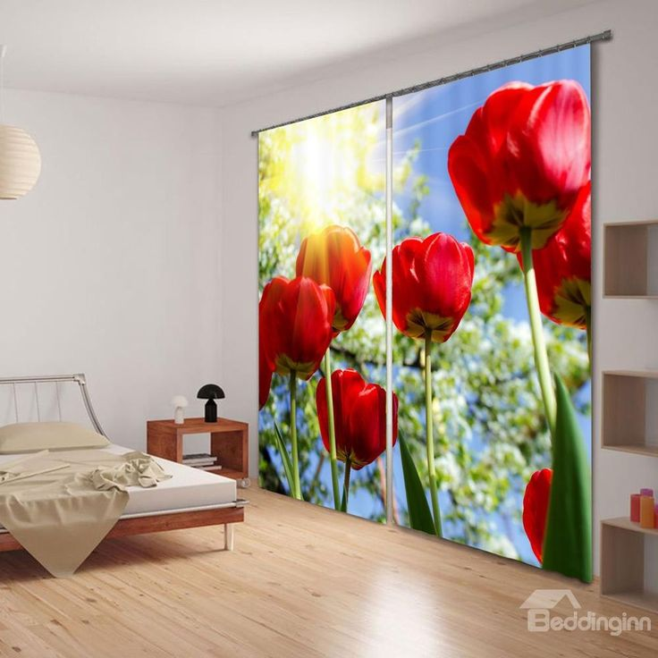 3D Gorgeous Red Flowers Thermal Insulation #Curtain