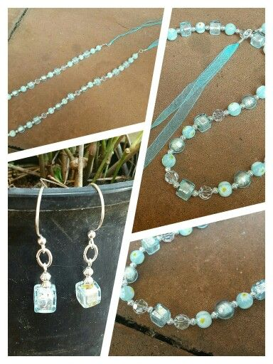 Pale Aqua & Silver Murano glass necklace with ribbon extender and matching earrings I just finished creating. #jewellery #jewelry #originalcontent #necklace #murano