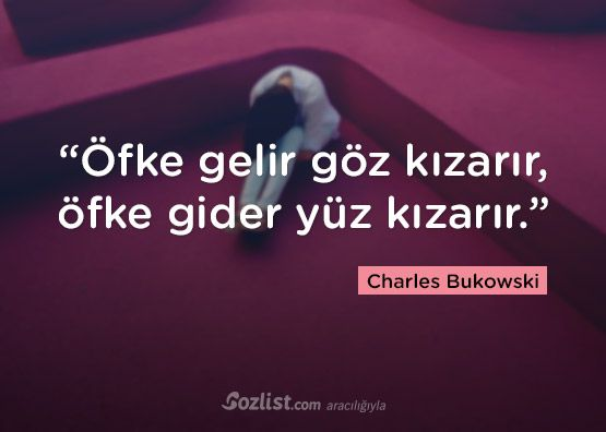 """""""Öfke gelir göz kızarır, öfke gider yüz kızarır."""" #charles #bukowski #sözleri #yazar #şair #kitap #şiir #özlü #anlamlı #sözler"""