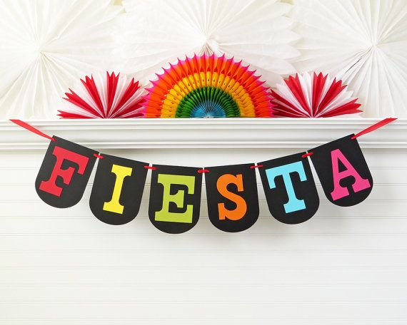 Fiesta Banner  7.25 inches tall  Cinco De by FreshLemonBlossoms