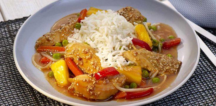 Sesamhühnchen mit Reis