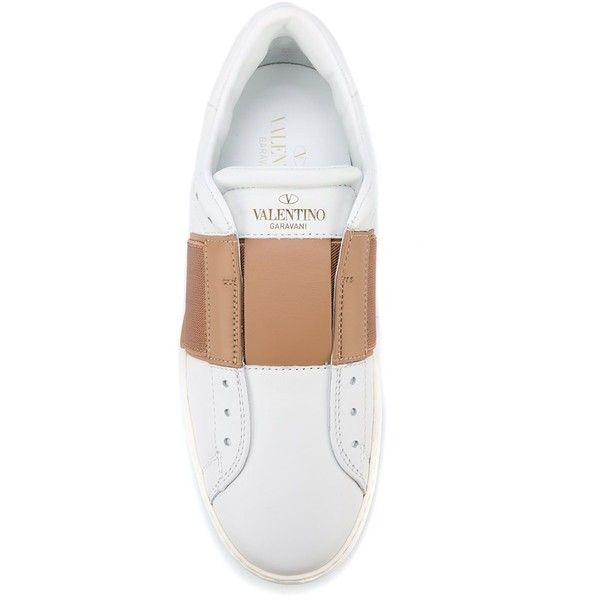 Valentino 'Open' sneakers ($745) ❤ liked on Polyvore featuring shoes, sneakers, leather trainers, valentino shoes, white trainers, leather shoes and valentino sneakers