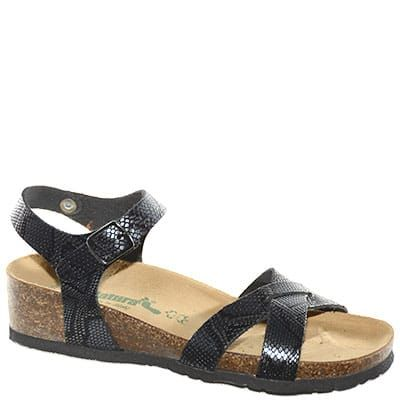 #Sandalo in pelle pitonata nera con cinturino alla caviglia.
