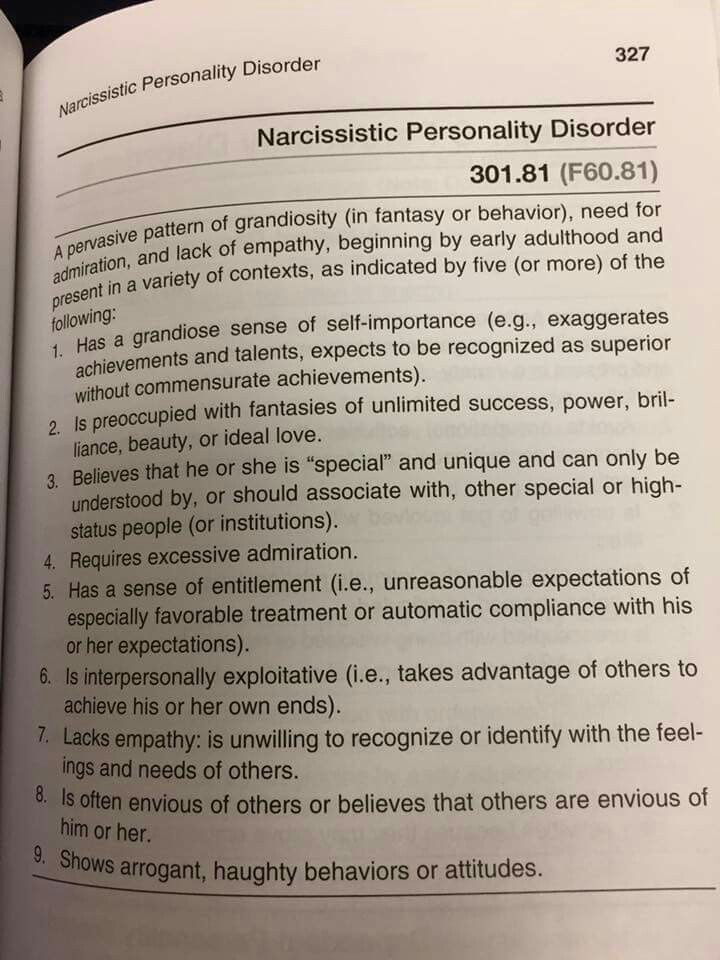 Narcissistic Personality Disorder. Donald is a textbook example of such a disorder!