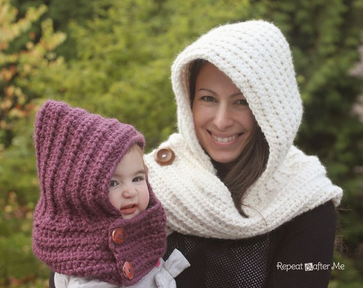 Repeat Crafter Me: Hooded Crochet Cowl with Lion Brand Thick & Quick Yarn #Scarfie