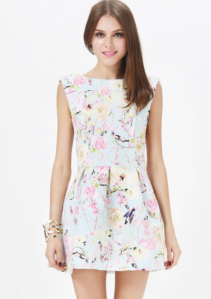 Light Blue Sleeveless Backless Flare Dress - Sheinside.com
