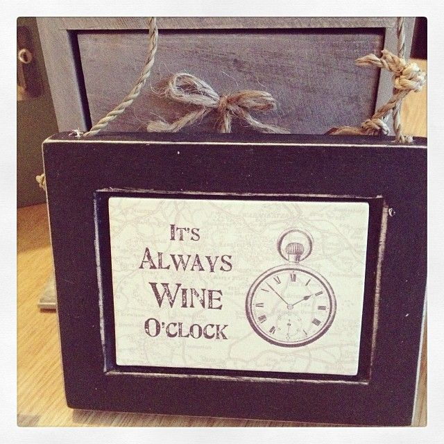 Little handmade wooden plaque by East Of India It s always wine o clock Approx 13 5x9 5cm On jute string hanger Lots of other plaques in this range
