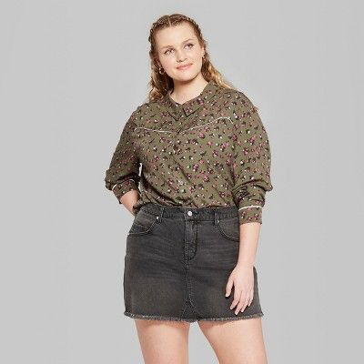 0afe8407 Women's Plus Size Long Sleeve Button-Down Tie Front Floral Western Top - Wild  Fable? Olive 4X #Sleeve, #Button, #Tie