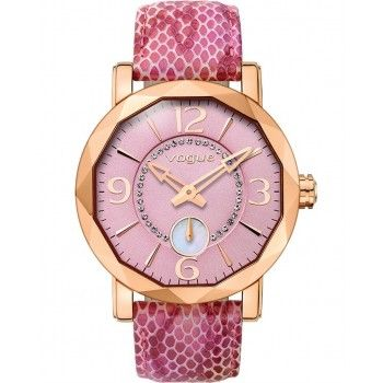 VOGUE Diamond Mini Crystal Rose Gold Pink Leather Strap 70271.2