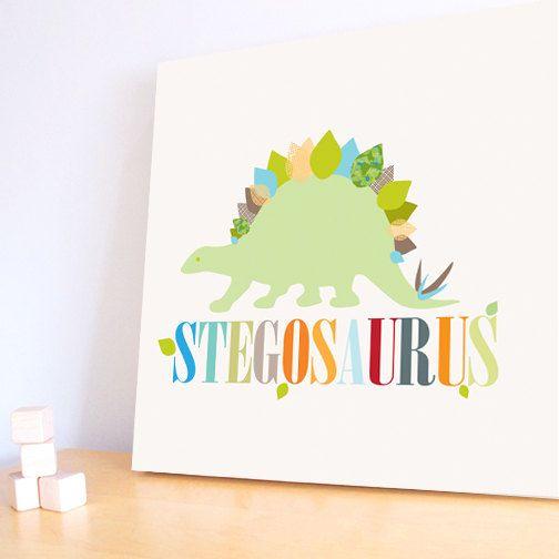 Dinosaur Wall Art, Decor for Baby Nursery, Kids and Children Rooms. 20x20 Stegosaurus Canvas