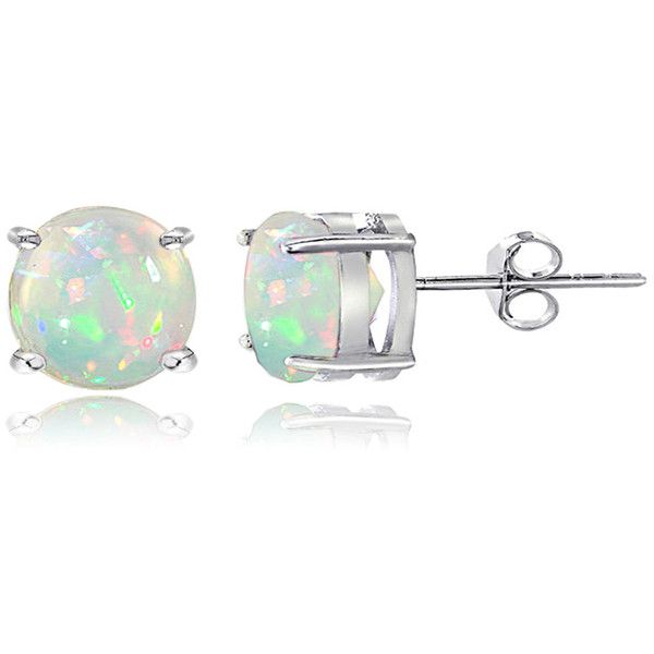 Glitzy Rocks Sterling Silver 1 1/10ct Ethiopian Opal Stud Earrings ($21) ❤ liked on Polyvore featuring jewelry, earrings, accessories, sterling silver stud earrings, round earrings, stud earring set, white earrings and sterling silver jewelry