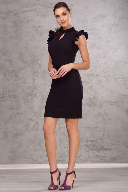 Kadın Siyah Fırfırlı Dar Midi Elbise