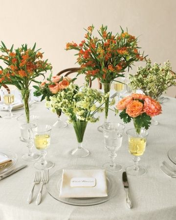 Wildflower Centerpiece.  A variety of wildflowers, each bunched together in individual vases, created a sophisticated and budget-friendly decoration.