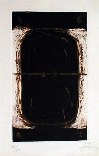 Etching in Brown and Burnt-Sienna - Antoni Tapies