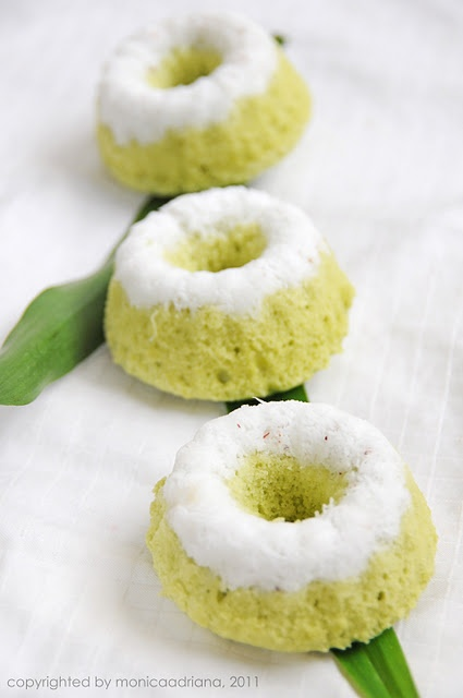 Indonesian Food - Putu Ayu Indonesian traditional food made of flour, it is sweet and has fragrant smell of pandan aroma. The green color comes from pandan leaf  extract, or natural green pigment from suji leaf