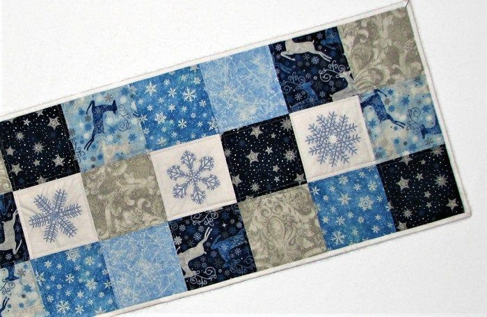 Embroidered Christmas Quilted Table Runner Blue White Silver Snowflake Table Topper Handmade Winter Patchwork Runner 15 5 X45 5 Quilted Table Runner Christmas Quilt Table Toppers