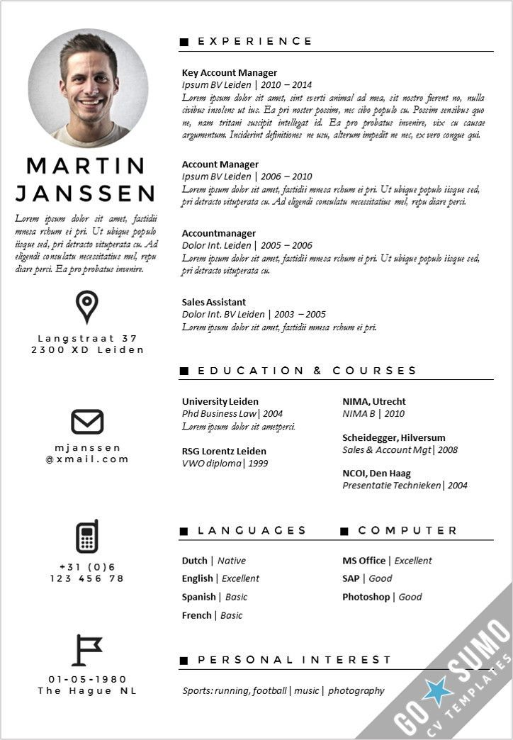 Cv Template Netherlands Resume Format Cv Template Creative Cv Template Resume Templates