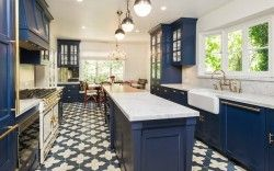 zoey deschanel blue kitchen cabinets                                                                                                                                                                                 More