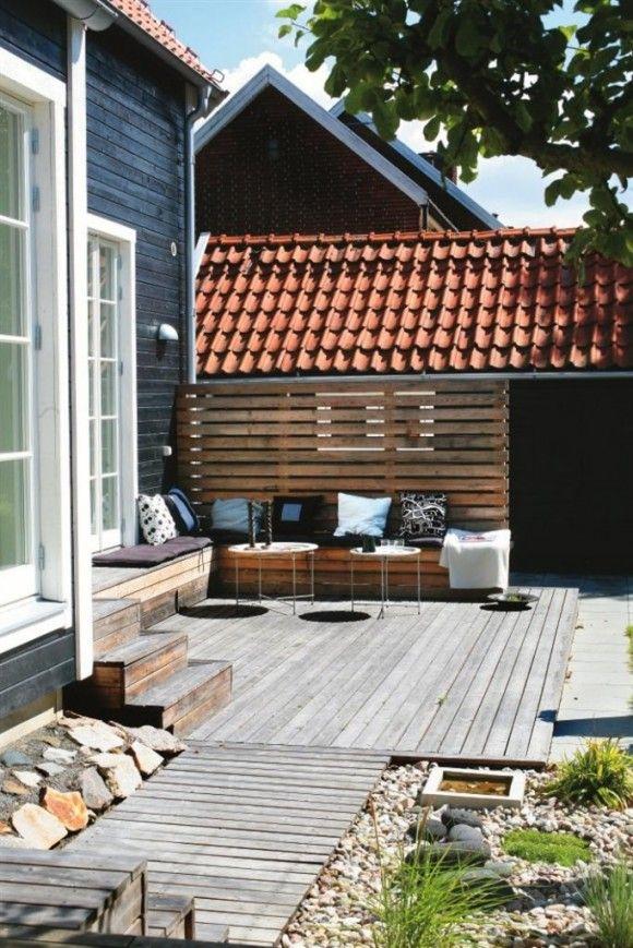 Terrasse i træ ‹ Bungalow5  bænke i lærk