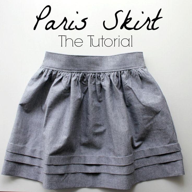 cute pleats at hem. can also work as way to lengthen skirt as kid grows | Paris skirt tutorial