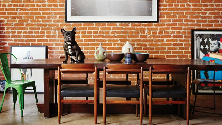 Brent Bolthouse & his charming dog: Design Inspiration, Dining Rooms, Beauty Rooms, Venice Beaches, French Bulldogs, Dogsa Domainehom, Charms Dogs, Interiors Design, Dining Tables