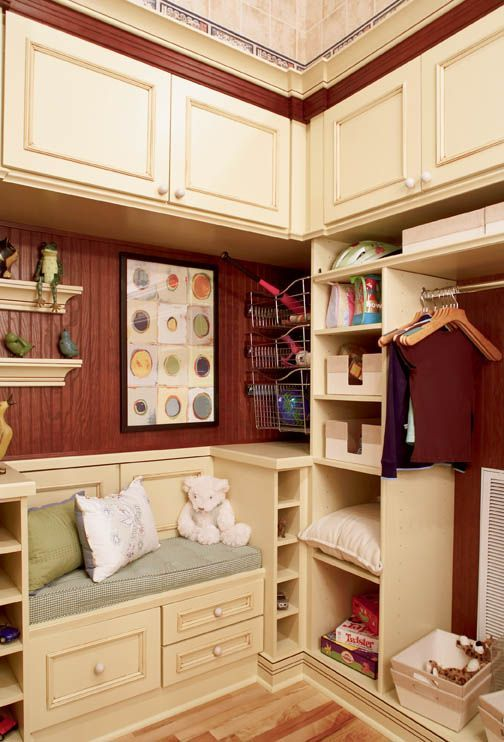 STORAGE FOR KID'S ROOM:  Melrose Maple, Honey Butter and Oak Sable Accent Moulding