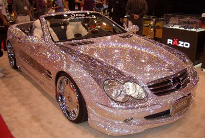pink glitter Mercedes convertable!