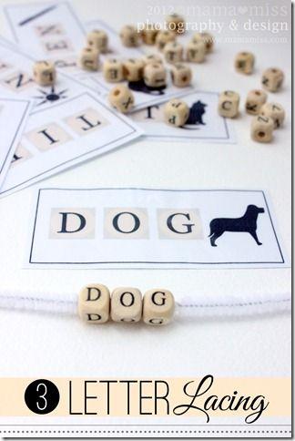 Utiliser des perles-lettres pour écrire des mots!! Enfiler sur des cure pipes. J'adore!