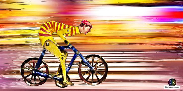 Bike Boy, a vibrant bicycle art illustration depicting human machine like strength and speed with a finish line in sight.