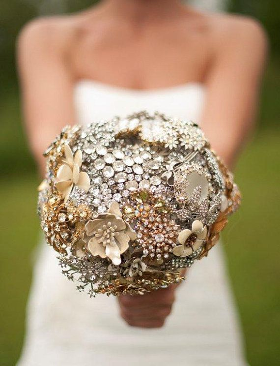 Ritzy Rose Brooch Bouquet - Custom Large Jeweled Crystal Bouquet #WeddingTrends2013