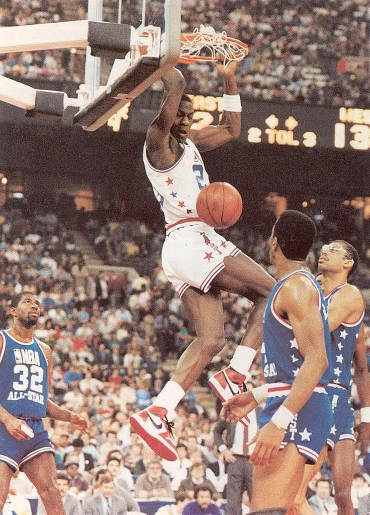 Rookie Michael Jordan of the Chicago Bulls played his first game at the 1985 NBA All-Star Game from Indianapolis, IN  The West beat the East 140-129 as Ralph Sampson of the Houston Rockets was named MVP