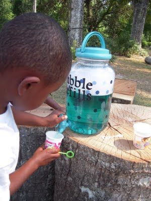 Since most kids dump out the bottle of bubbles halfway through, this makes perfect sense...and you won't be too mad because it costs pennies ;) - perfect for next summer: Refill Container, Homemade Bubble, Birthday, Craft, Idea, Bubble Refills, Bubble Recipe, Kids