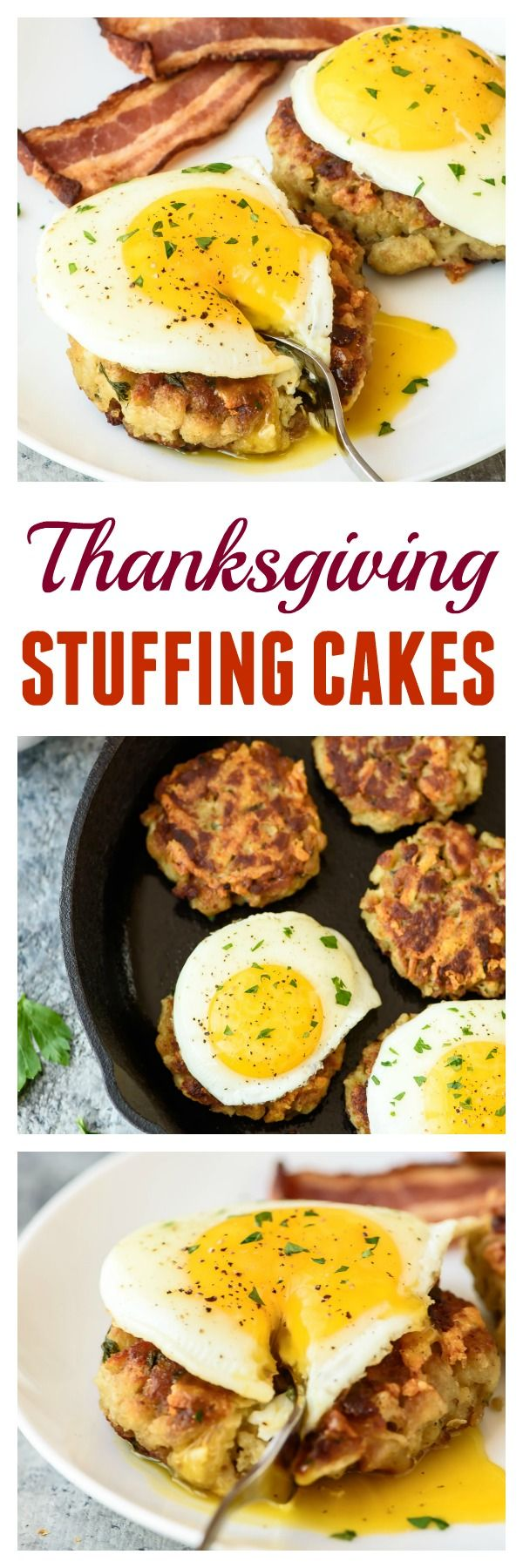 Turn your leftover Thanksgiving stuffing into Cheesy Stuffing Breakfast Cakes! Golden and crispy on the outside, moist and cheesy on the inside, and ready to go in only 20 minutes! The perfect breakfast recipe for the day after Thanksgiving.