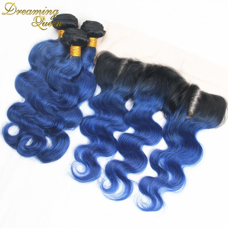 8A Malaysian Ombre 1B Blue Hair Extensions With Lace Frontal 1B/Blue Human Hair Weave Cheap 100% Blue Remy Hair Weave Bundles