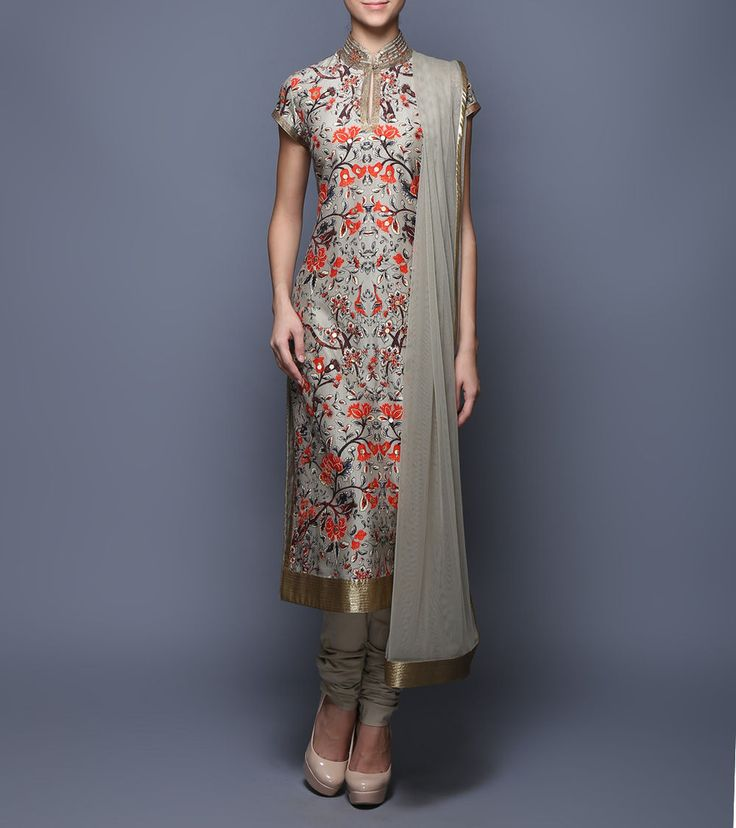 Grey Digitally Printed Chanderi & Net Suit
