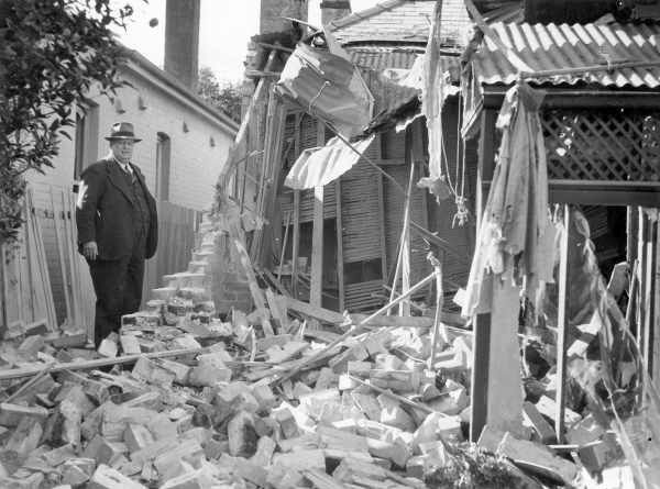 Shattered wall of a house in the eastern suburbs after Japanese Shelling of Sydney 1942.Photo from Dictionary of Sydney.A♥W